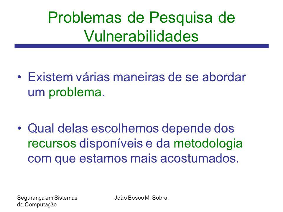 Problemas de Pesquisa de Vulnerabilidades