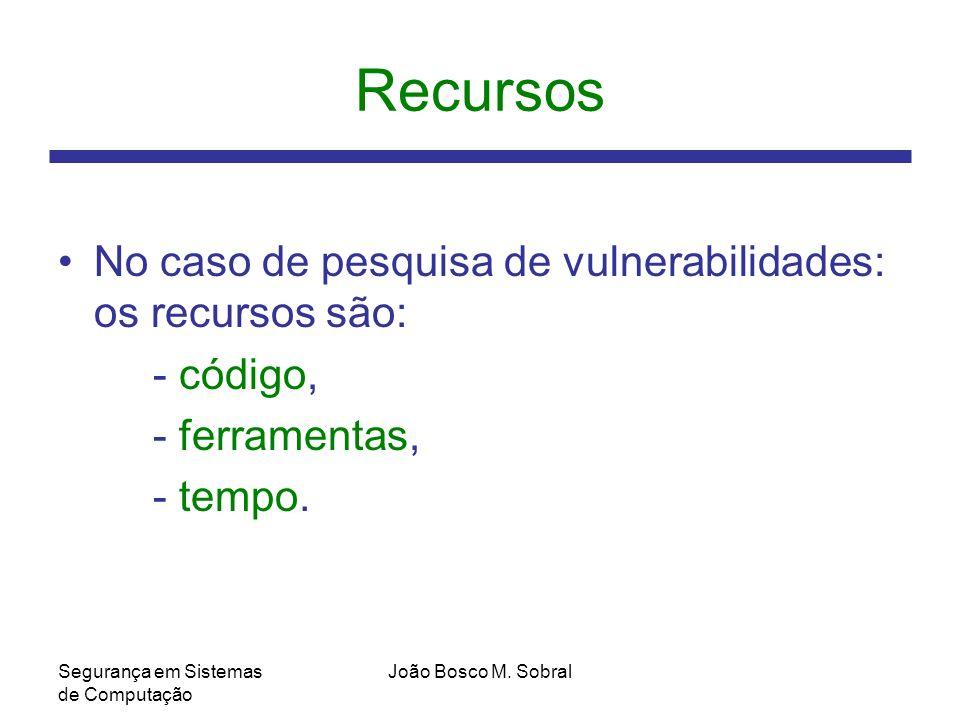 Recursos No caso de pesquisa de vulnerabilidades: os recursos são: