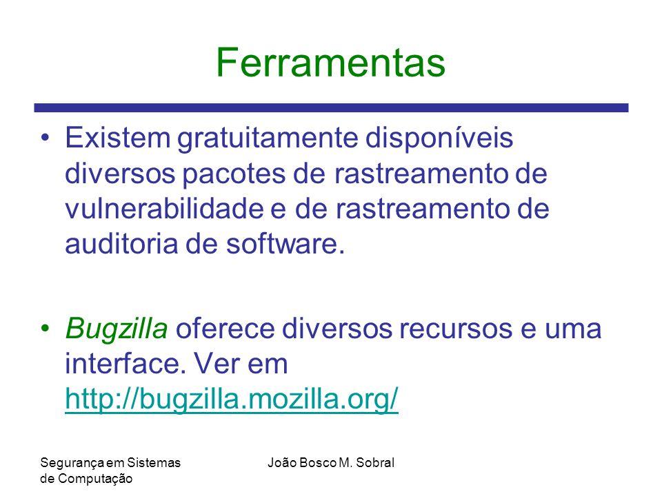 Ferramentas Existem gratuitamente disponíveis diversos pacotes de rastreamento de vulnerabilidade e de rastreamento de auditoria de software.