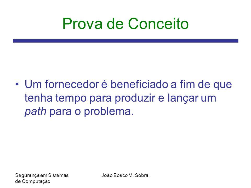 Prova de Conceito Um fornecedor é beneficiado a fim de que tenha tempo para produzir e lançar um path para o problema.