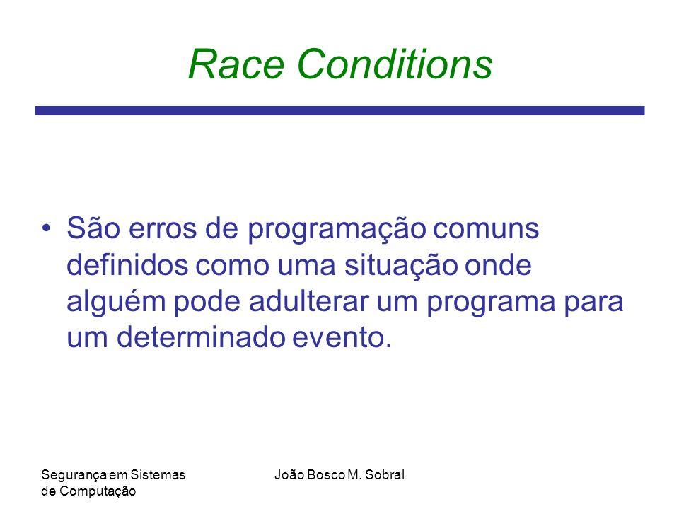 Race Conditions São erros de programação comuns definidos como uma situação onde alguém pode adulterar um programa para um determinado evento.
