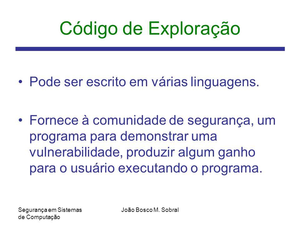 Código de Exploração Pode ser escrito em várias linguagens.