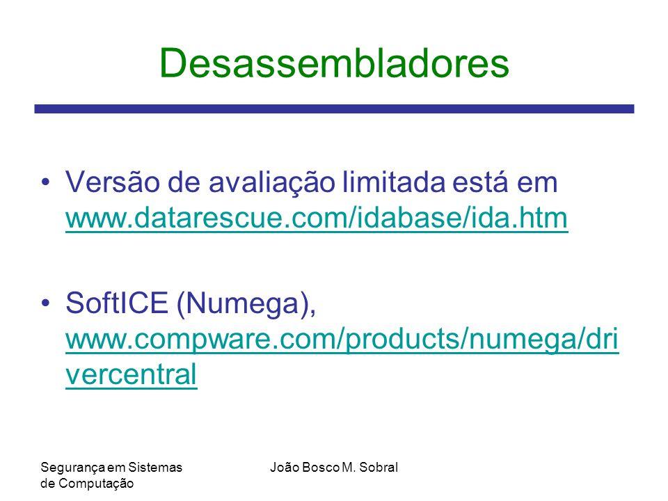Desassembladores Versão de avaliação limitada está em www.datarescue.com/idabase/ida.htm.