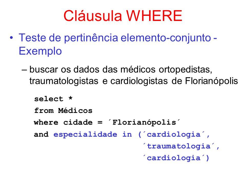Cláusula WHERE select *
