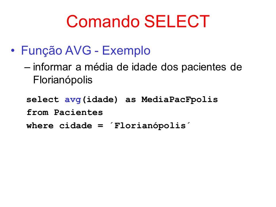 Comando SELECT Função AVG - Exemplo