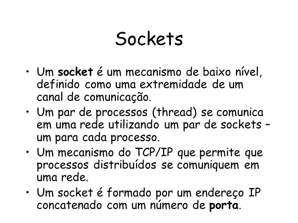 Sockets Um socket é um mecanismo de baixo nível, definido como uma extremidade de um canal de comunicação.