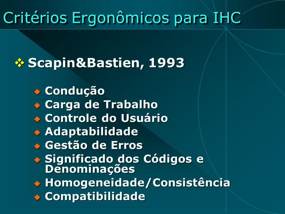 Critérios Ergonômicos para IHC