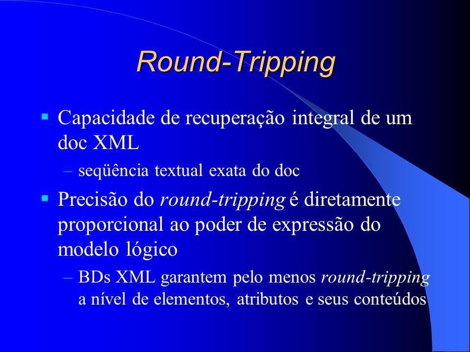 Round-Tripping Capacidade de recuperação integral de um doc XML