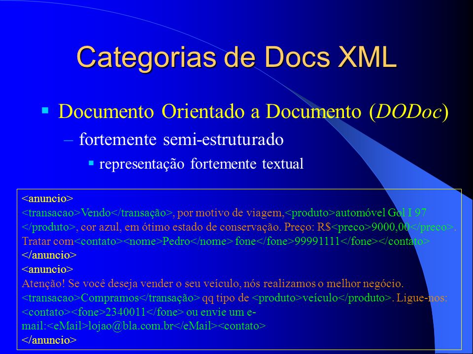 Categorias de Docs XML Documento Orientado a Documento (DODoc)
