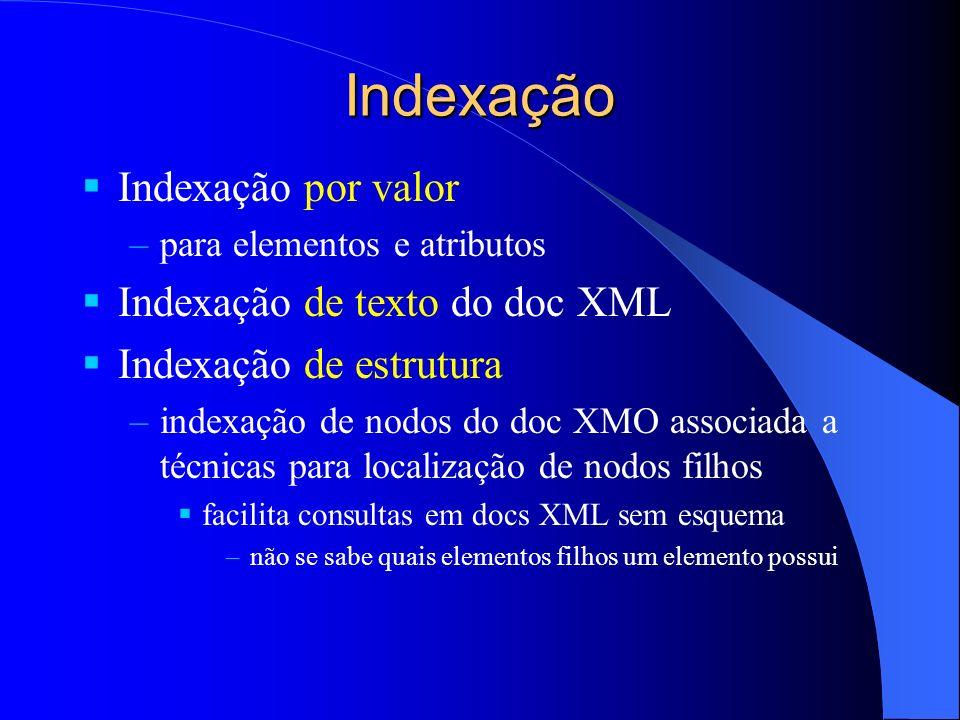 Indexação Indexação por valor Indexação de texto do doc XML