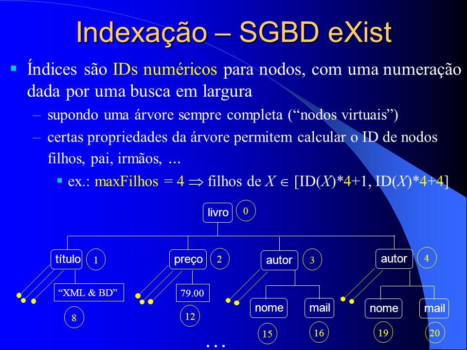 Indexação – SGBD eXist Índices são IDs numéricos para nodos, com uma numeração dada por uma busca em largura.
