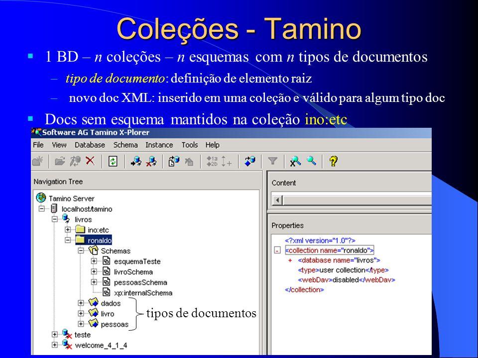 Coleções - Tamino1 BD – n coleções – n esquemas com n tipos de documentos. tipo de documento: definição de elemento raiz.