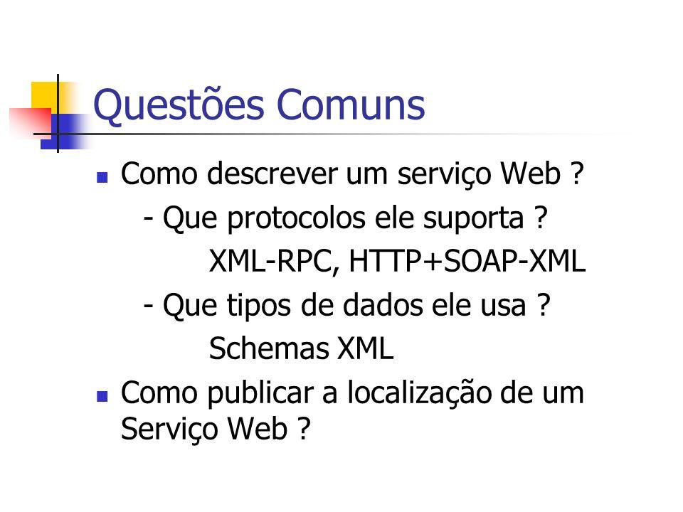 Questões Comuns Como descrever um serviço Web