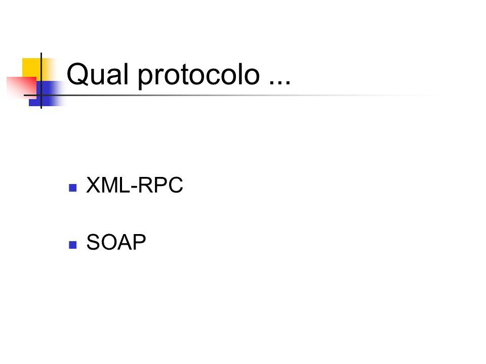 Qual protocolo ... XML-RPC SOAP