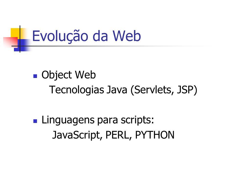 Evolução da Web Object Web Tecnologias Java (Servlets, JSP)