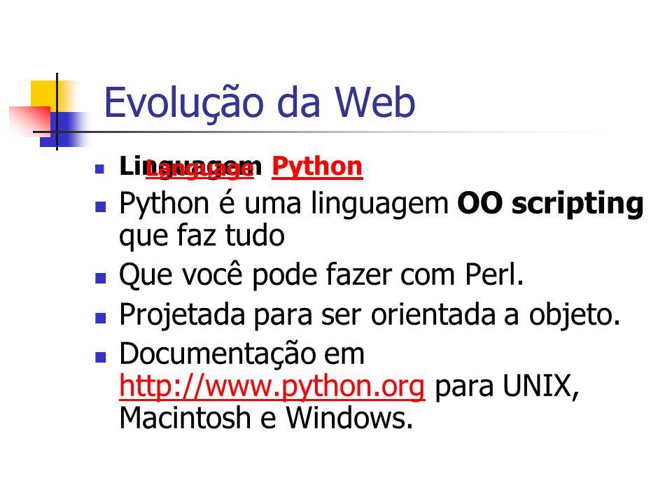 Evolução da Web Python é uma linguagem OO scripting que faz tudo