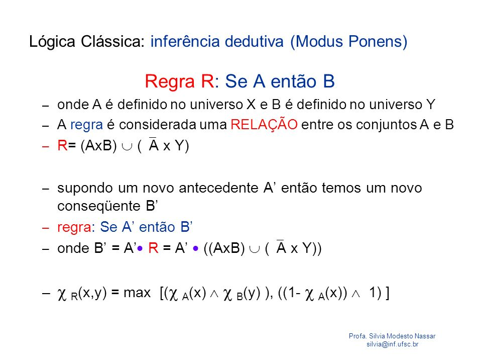 Lógica Clássica: inferência dedutiva (Modus Ponens)
