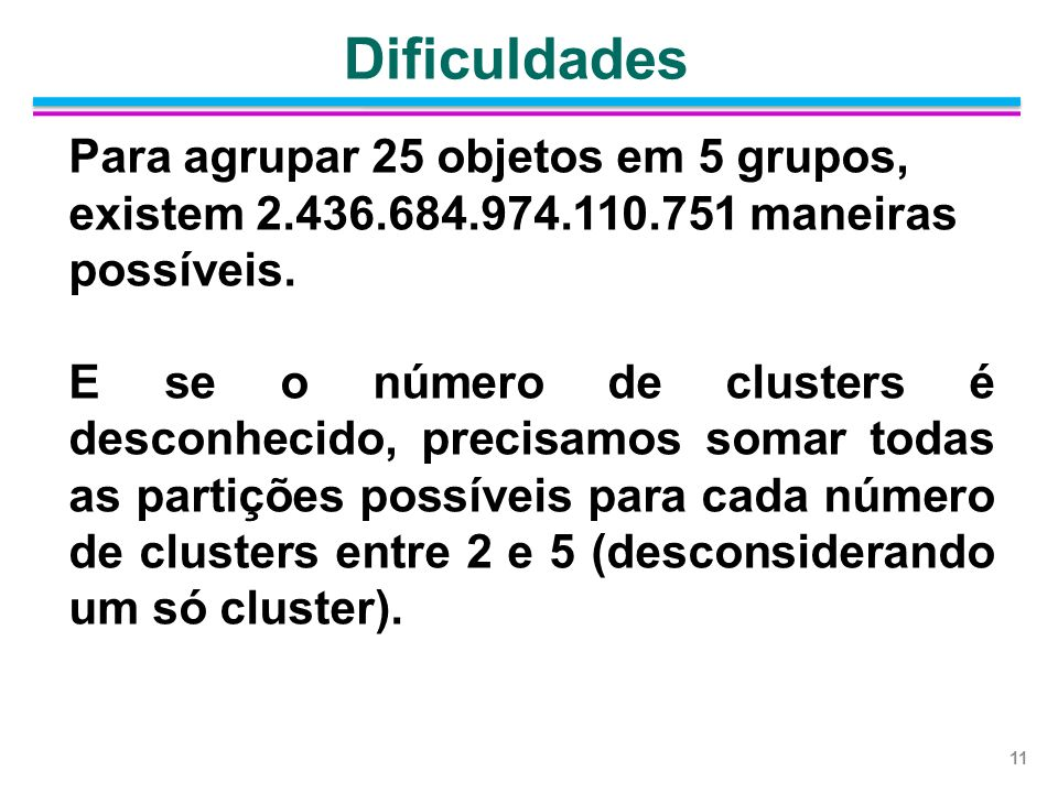 Dificuldades Para agrupar 25 objetos em 5 grupos, existem 2.436.684.974.110.751 maneiras possíveis.