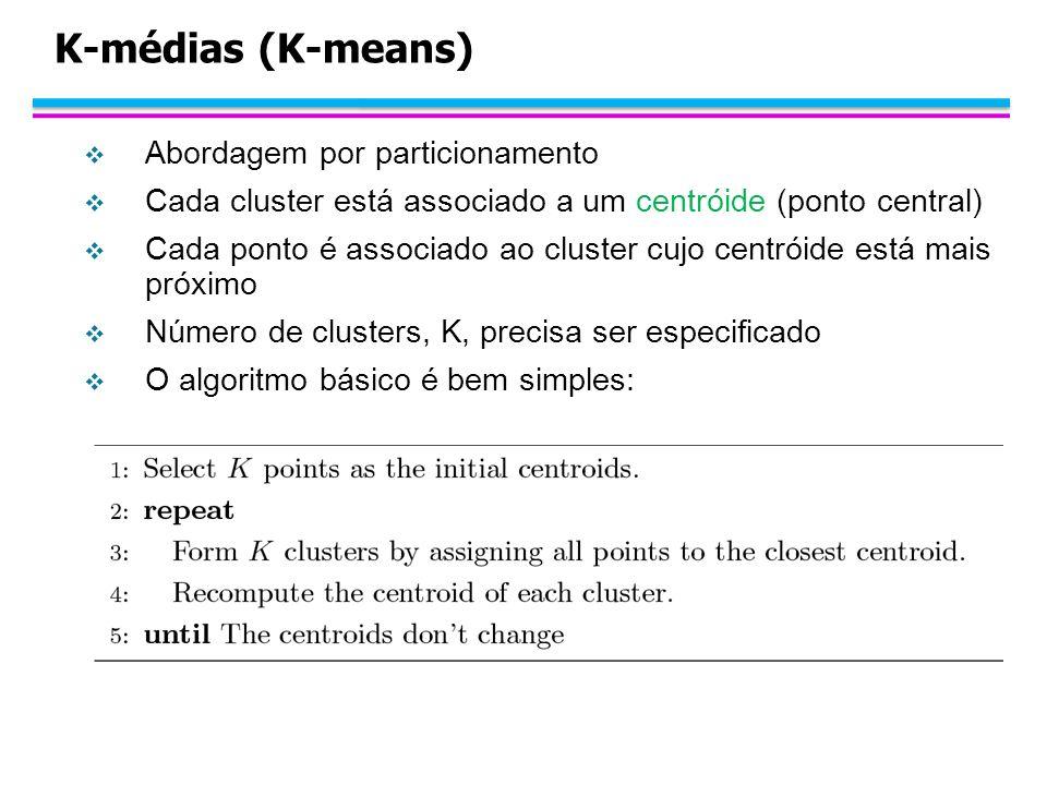 K-médias (K-means) Abordagem por particionamento