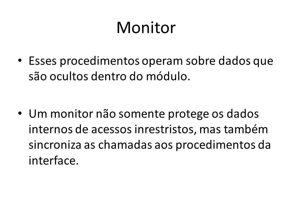 Monitor Esses procedimentos operam sobre dados que são ocultos dentro do módulo.