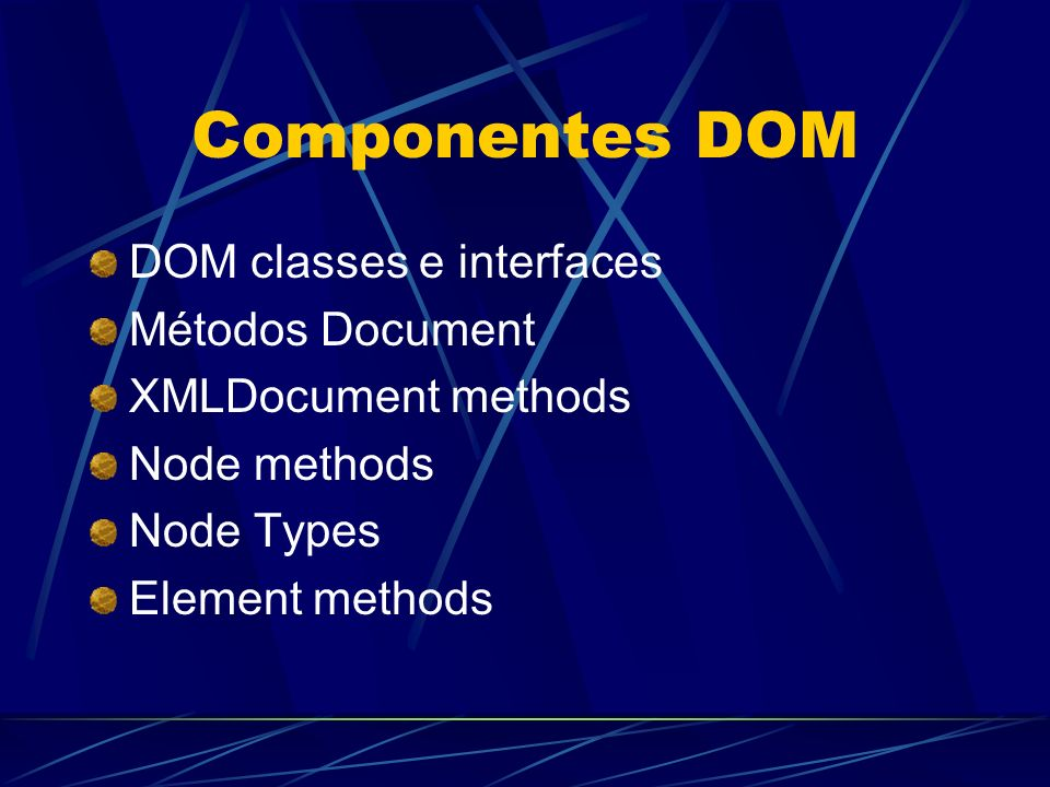 Componentes DOM DOM classes e interfaces Métodos Document