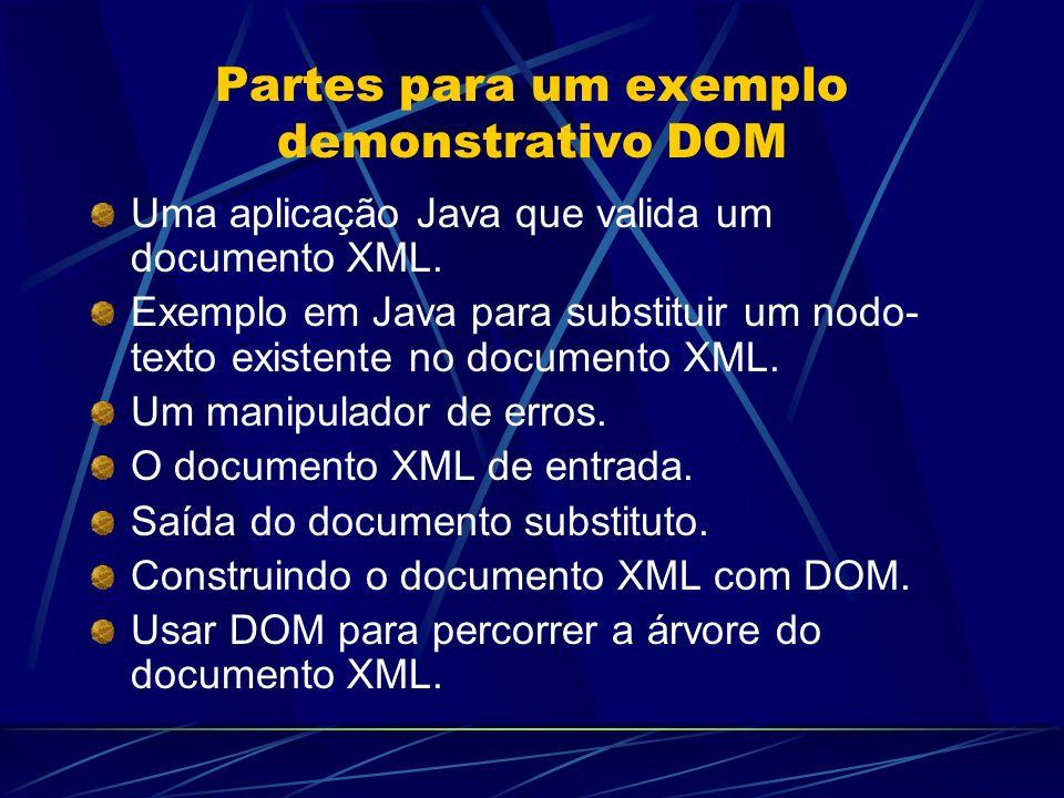 Partes para um exemplo demonstrativo DOM