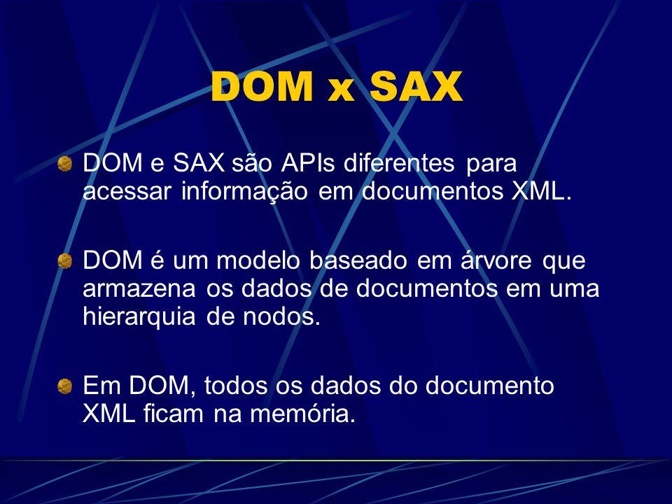 DOM x SAX DOM e SAX são APIs diferentes para acessar informação em documentos XML.