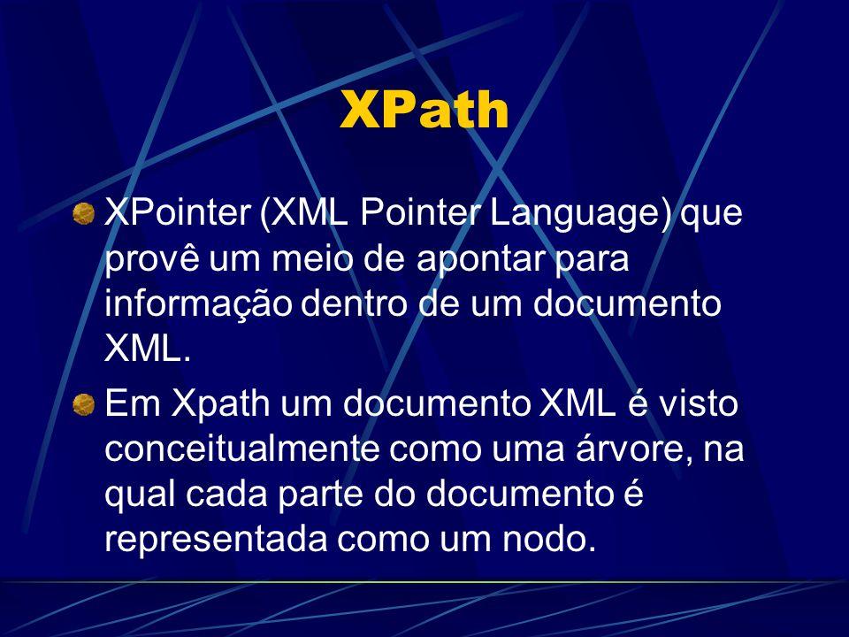 XPath XPointer (XML Pointer Language) que provê um meio de apontar para informação dentro de um documento XML.
