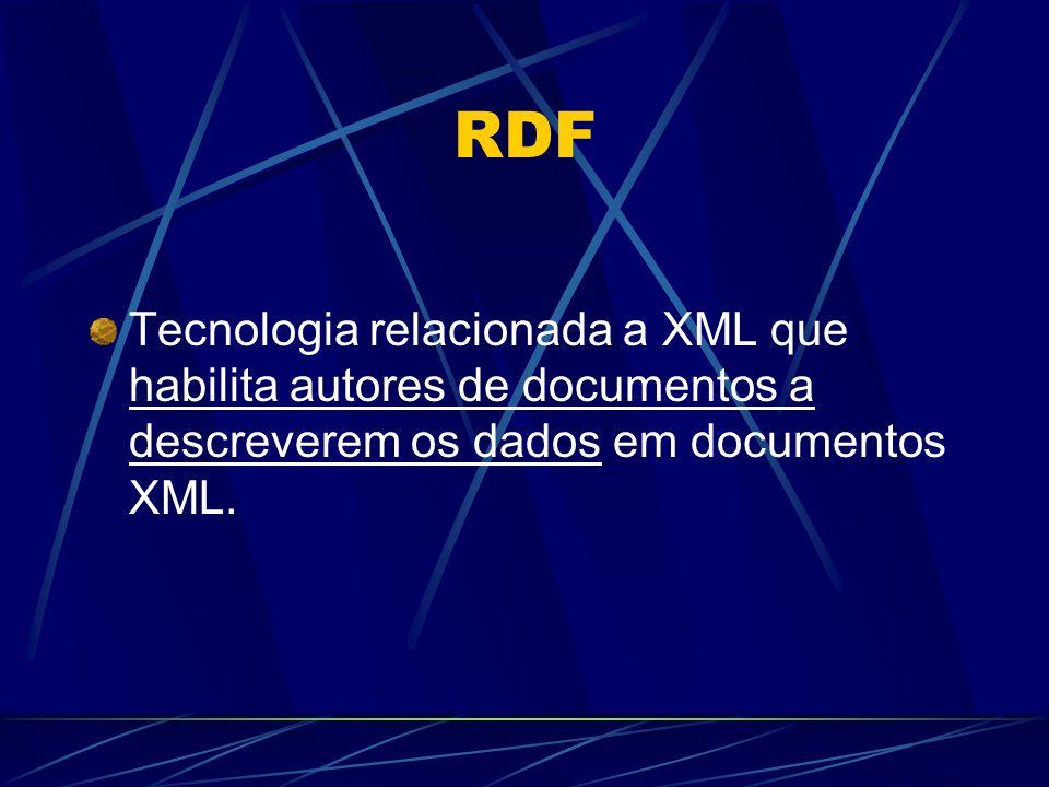 RDF Tecnologia relacionada a XML que habilita autores de documentos a descreverem os dados em documentos XML.