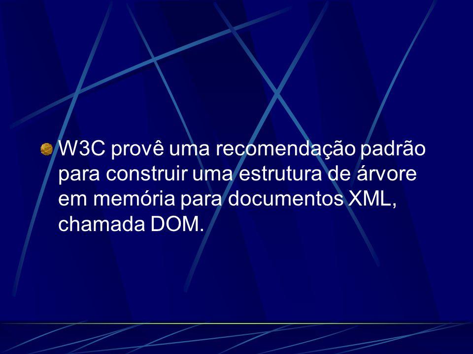 W3C provê uma recomendação padrão para construir uma estrutura de árvore em memória para documentos XML, chamada DOM.