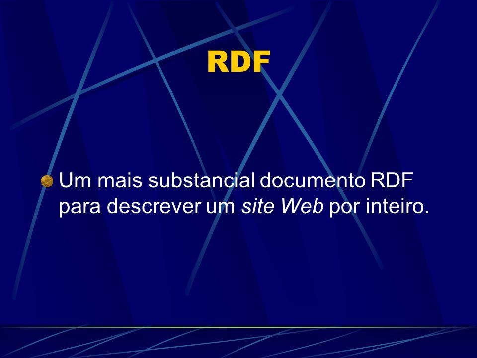 RDF Um mais substancial documento RDF para descrever um site Web por inteiro.