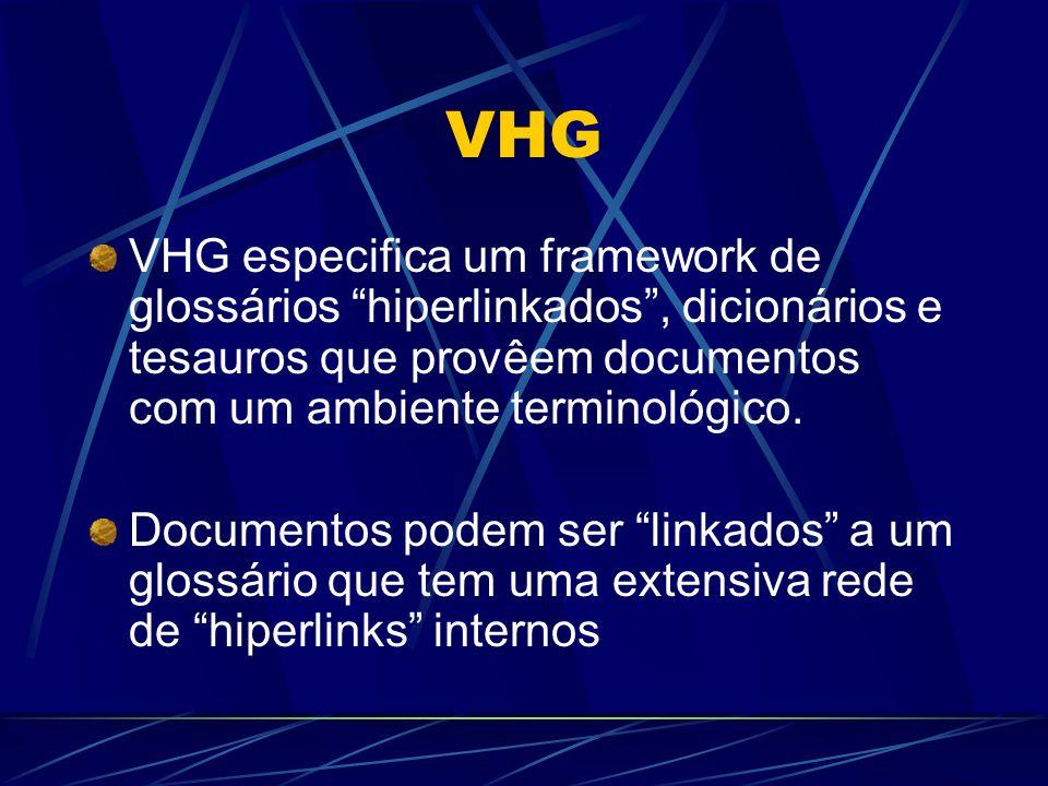 VHG VHG especifica um framework de glossários hiperlinkados , dicionários e tesauros que provêem documentos com um ambiente terminológico.