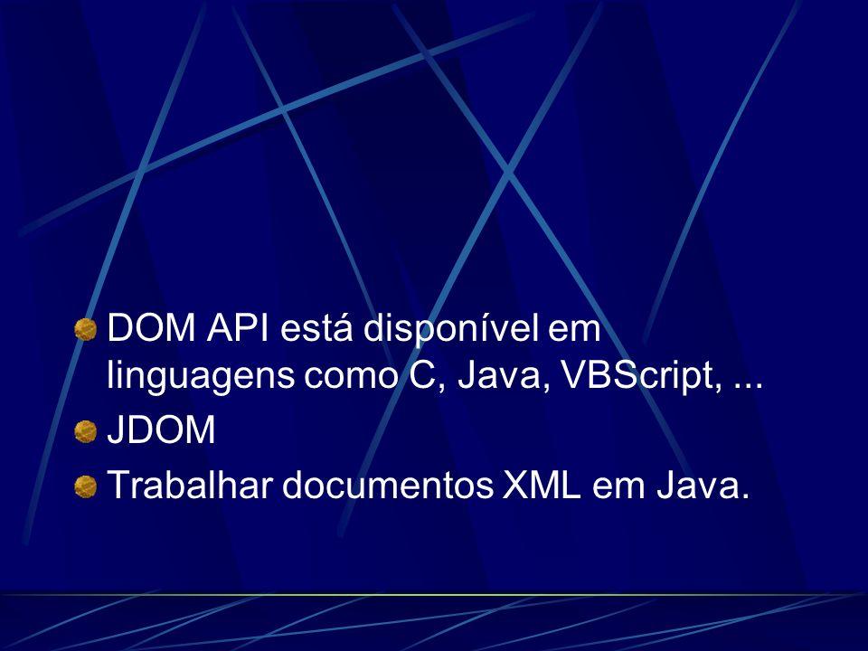 DOM API está disponível em linguagens como C, Java, VBScript, ...