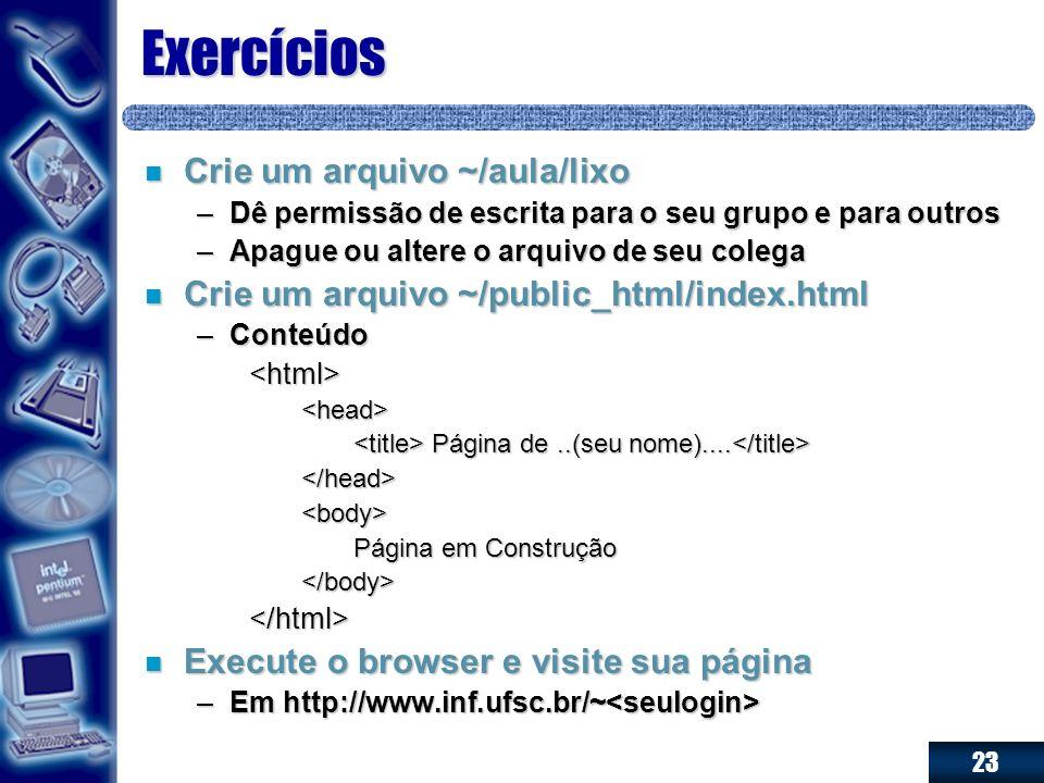 Exercícios Crie um arquivo ~/aula/lixo