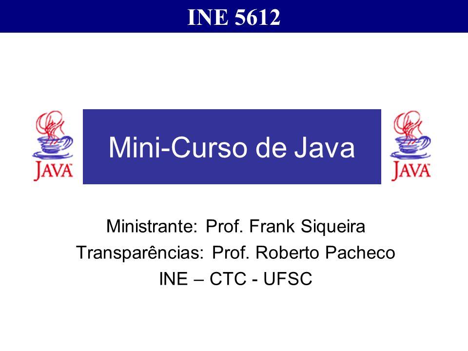 Mini-Curso de Java INE 5612 Ministrante: Prof. Frank Siqueira