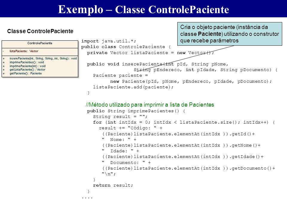 Exemplo – Classe ControlePaciente
