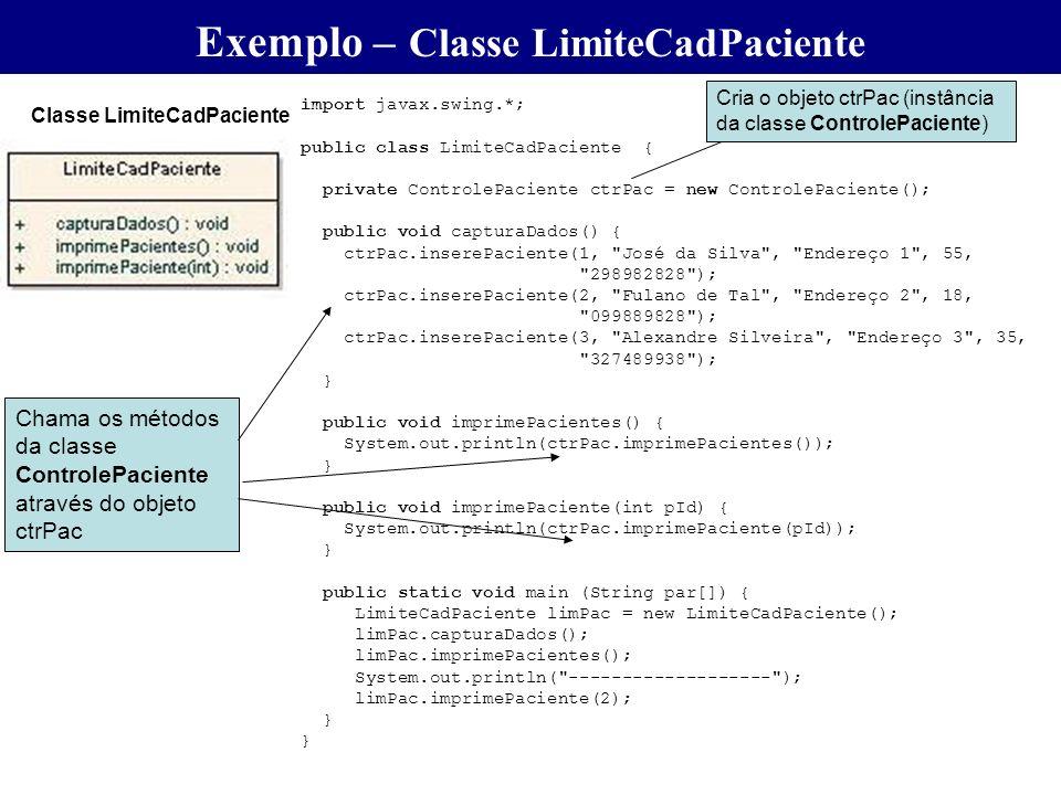 Exemplo – Classe LimiteCadPaciente