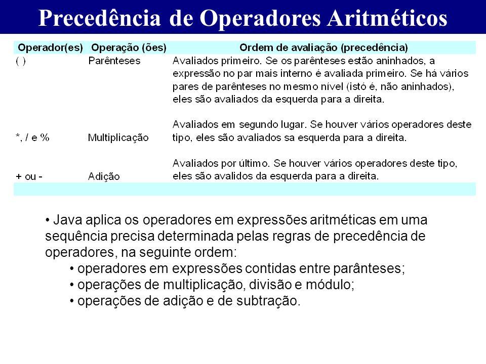 Precedência de Operadores Aritméticos