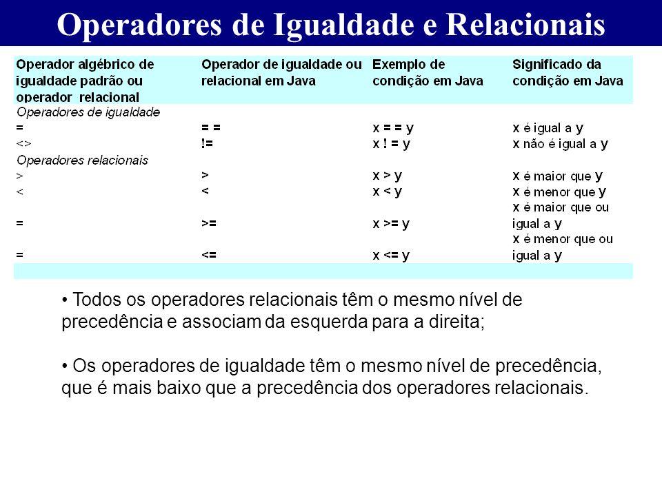 Operadores de Igualdade e Relacionais