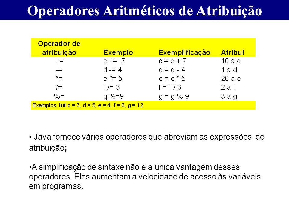 Operadores Aritméticos de Atribuição