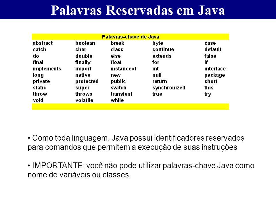 Palavras Reservadas em Java