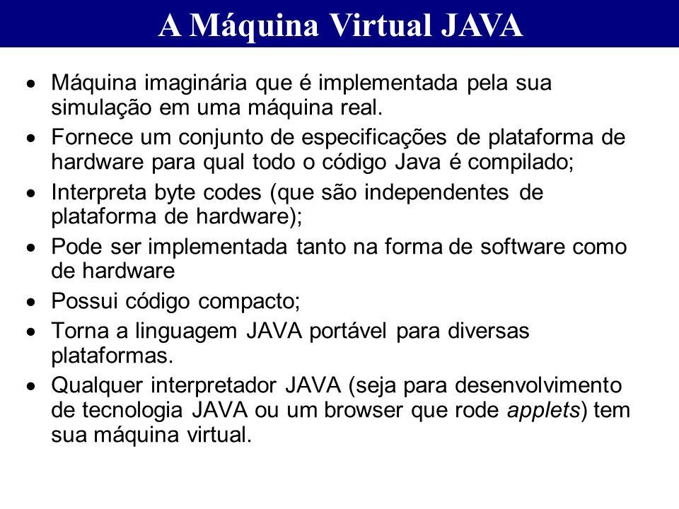 A Máquina Virtual JAVA Máquina imaginária que é implementada pela sua simulação em uma máquina real.