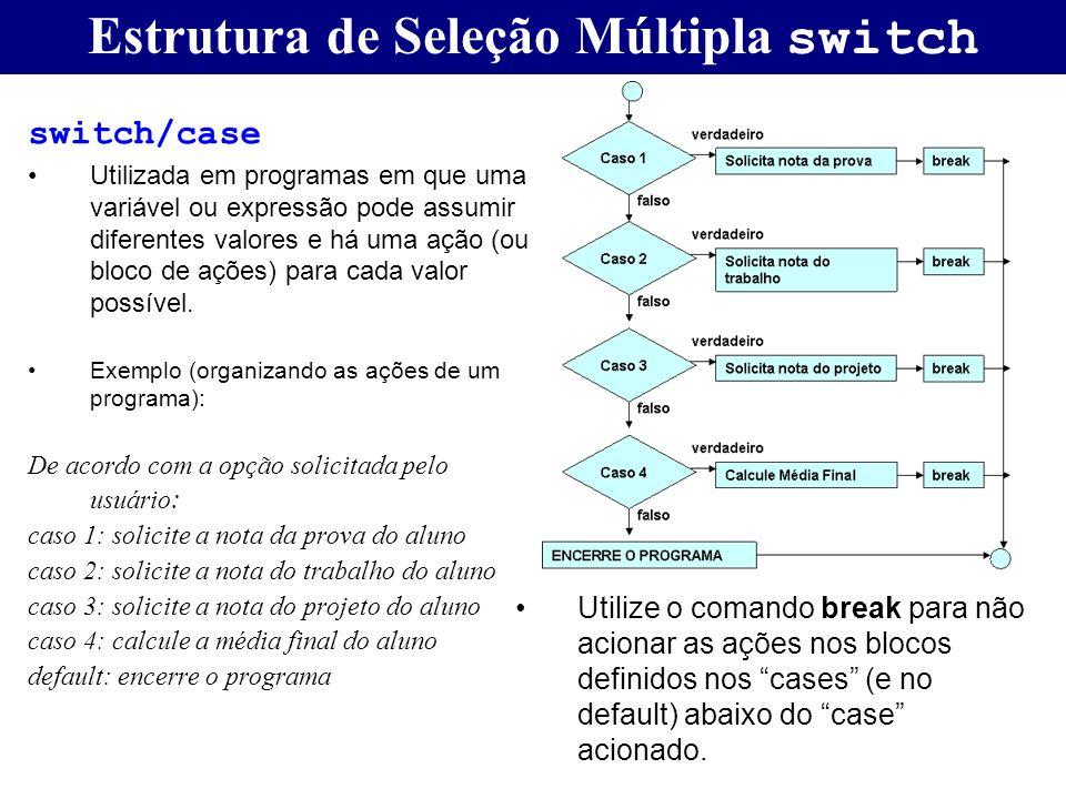 Estrutura de Seleção Múltipla switch
