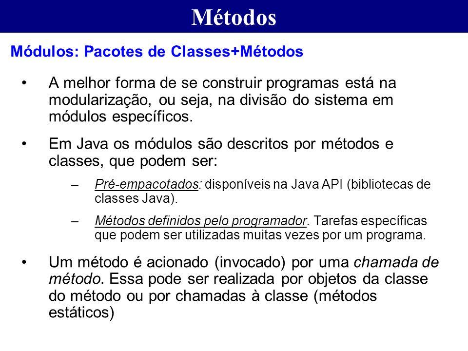 Métodos Módulos: Pacotes de Classes+Métodos
