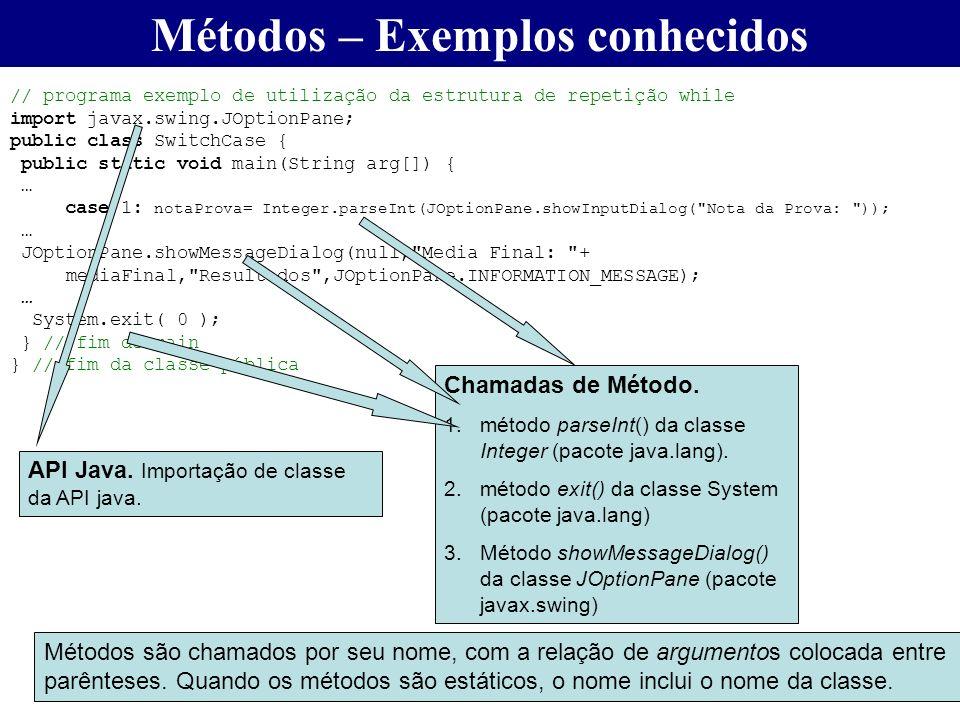 Métodos – Exemplos conhecidos