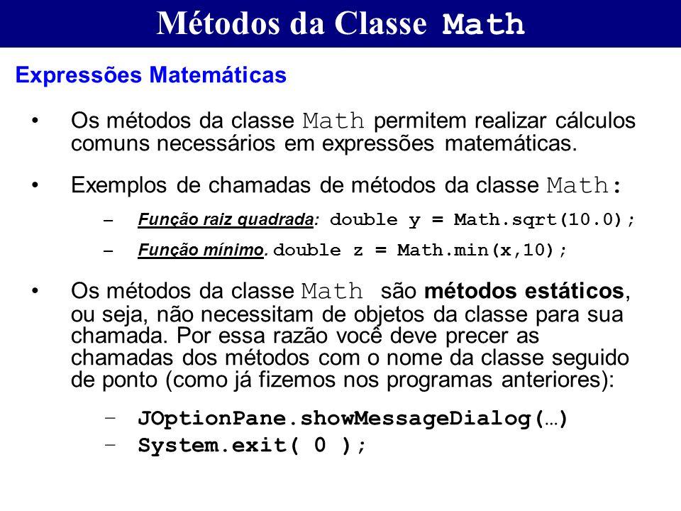 Métodos da Classe Math Expressões Matemáticas