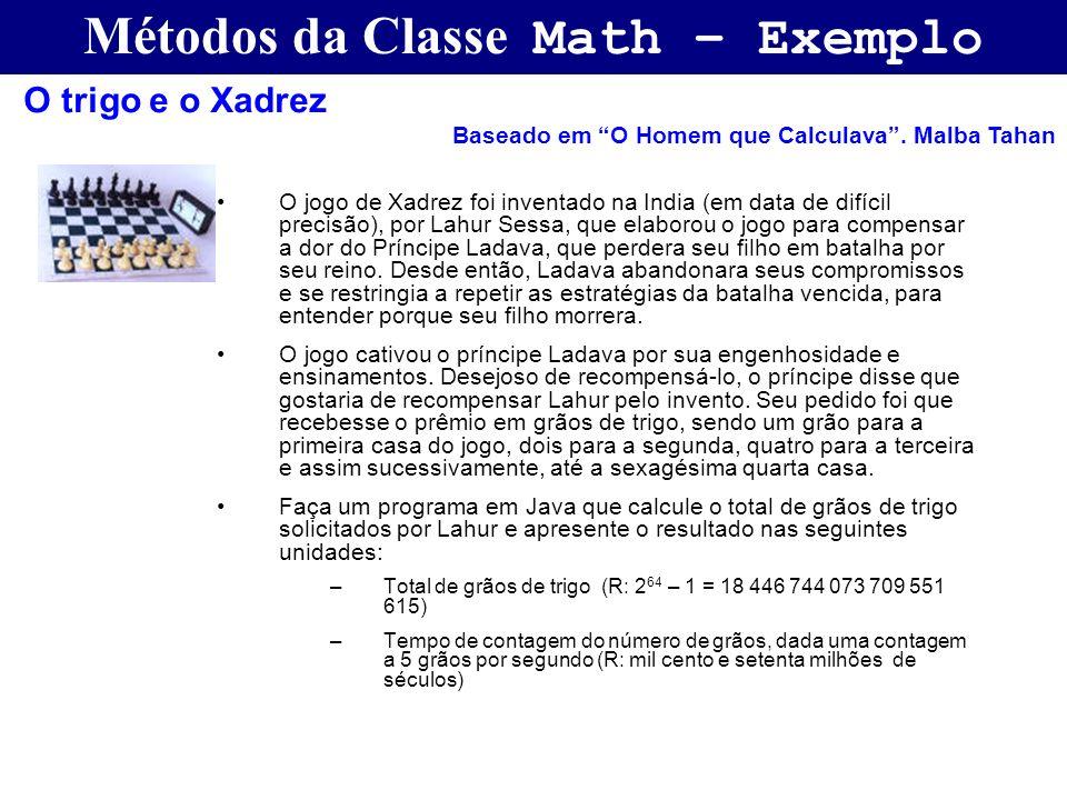 Métodos da Classe Math – Exemplo