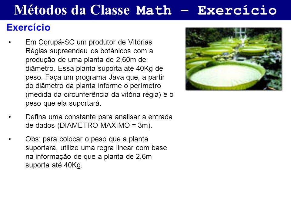 Métodos da Classe Math – Exercício