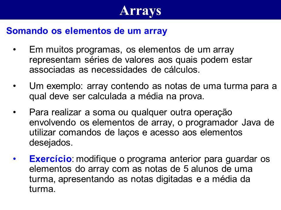 Arrays Somando os elementos de um array