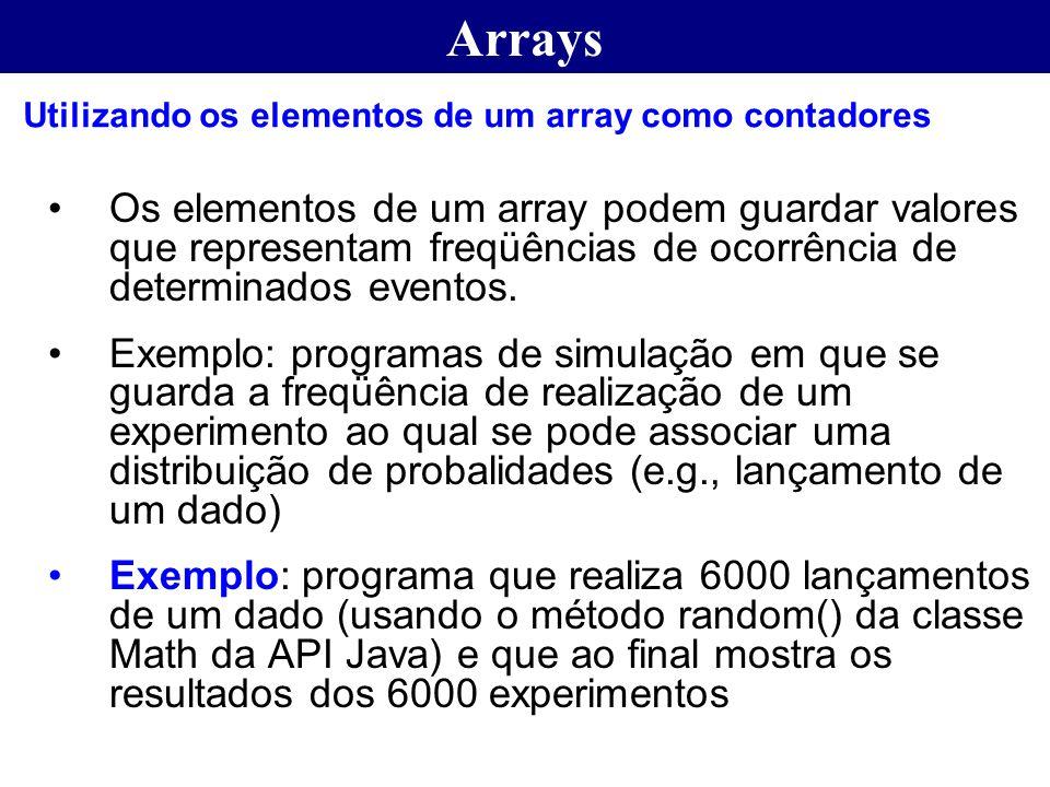 Arrays Utilizando os elementos de um array como contadores.